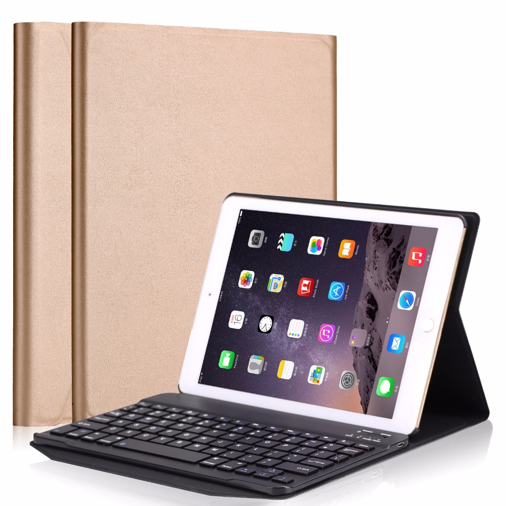 For iPad 9.7 2017 case with keyboard, PU Leather Stand Cover Case with Bluetooth Keyboard for All iPad Air 1 2 2017 Tablet Case universal 61 key bluetooth keyboard w pu leather case for 7 8 tablet pc black