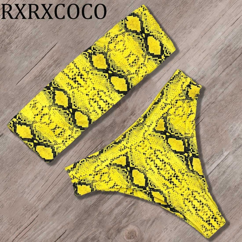 c32a6a2dee0 Snake printed Bandeau Bikini 2019 Sexy High Waisted Swimsuit Push Up Bikini  Set Mayo Swimwear Women Bathing Suit maillot de bain