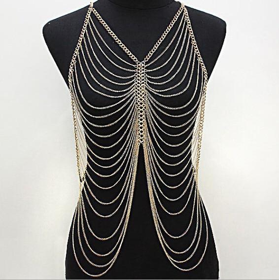 New Sexy Bohemian Body Chains Alloy Gold Chain Rock Punk Beach Multi Layer Long Hanging Necklace Bikini Jewelry Women Wholesale
