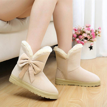 New 2016 Women Snow Boots Casual Bowtie Flat Women Boots Leisure Plus velvet Ankle Boot Solid Comfortable Round Toe Shoes SAT905