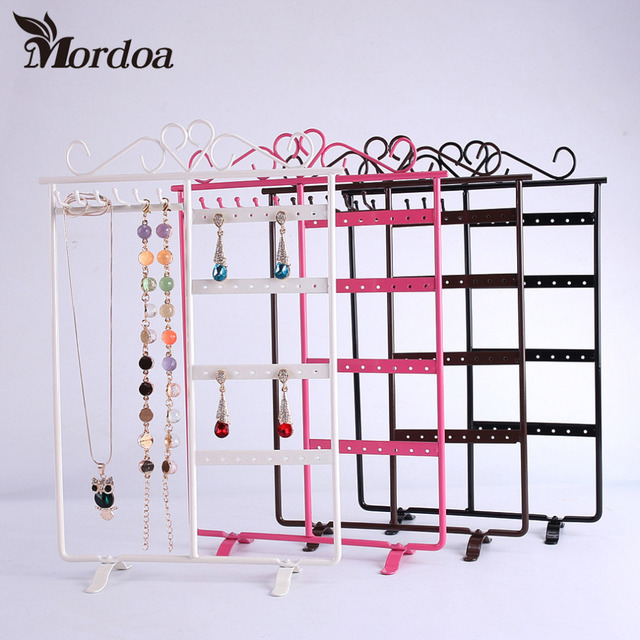 2016 Good quality 6 Hooks 32 Hole Earrings Necklace Jewelry Display Metal Stand Rack Holder Home Organizer