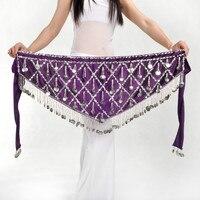 Sequin Tassle Belly Dance Hip Scarf Wrap Velvet Coin Bellydance Skirt Tribal Dancing Costume Waist Chain Fringes 89
