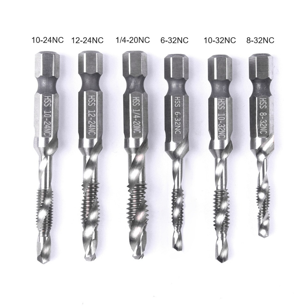 Hand Tap Drill Hex Shank HSS Screw Spiral Point Thread Metric/Imperial Plug Drill Bits Hand Tools 4pcs set hand tap hex shank hss screw spiral point thread metric plug drill bits m3 m4 m5 m6 hand tools