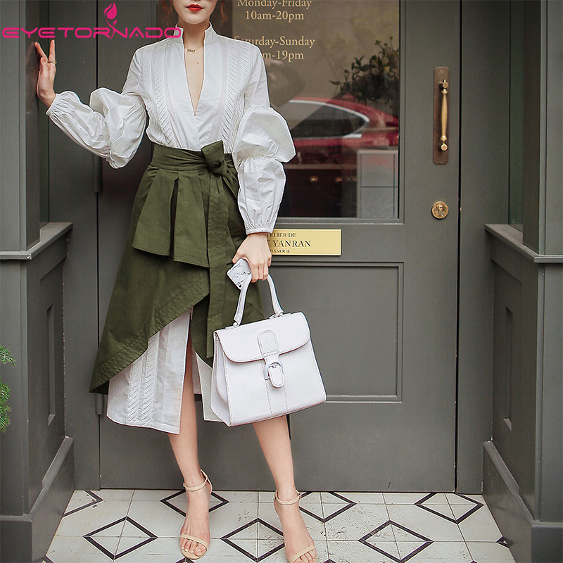 Women 2 Piece Skirt Set V Neck Lantern Sleeve Long Casual Shirt Dress + Military Green Asymmetry Skirt Suit Work Office Outfit