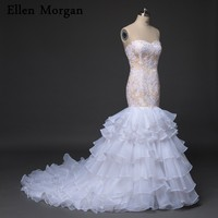 Sexy Mermaid Wedding Dresses For Women Wear Sweetheart Neck Applique Organza Ruffles Champagne Online Shop Bridal