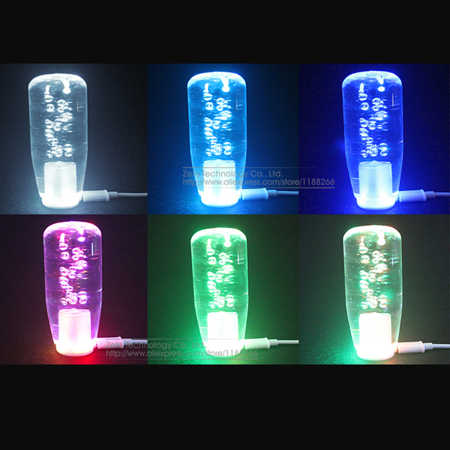 15/20/25/30/40cm LED Light Color Changing Crystal Bubble Gear Shift Knob Manual Shifter Stick With 2 USB Interface Charger