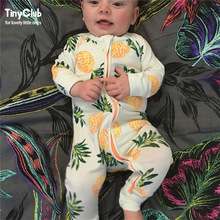 Infant jumpsuit lange ærmer Floral Romper Baby Boy Pige Tøj Tiny Cottons New Born Toddler Onesie Overall Outfit Pyjamas