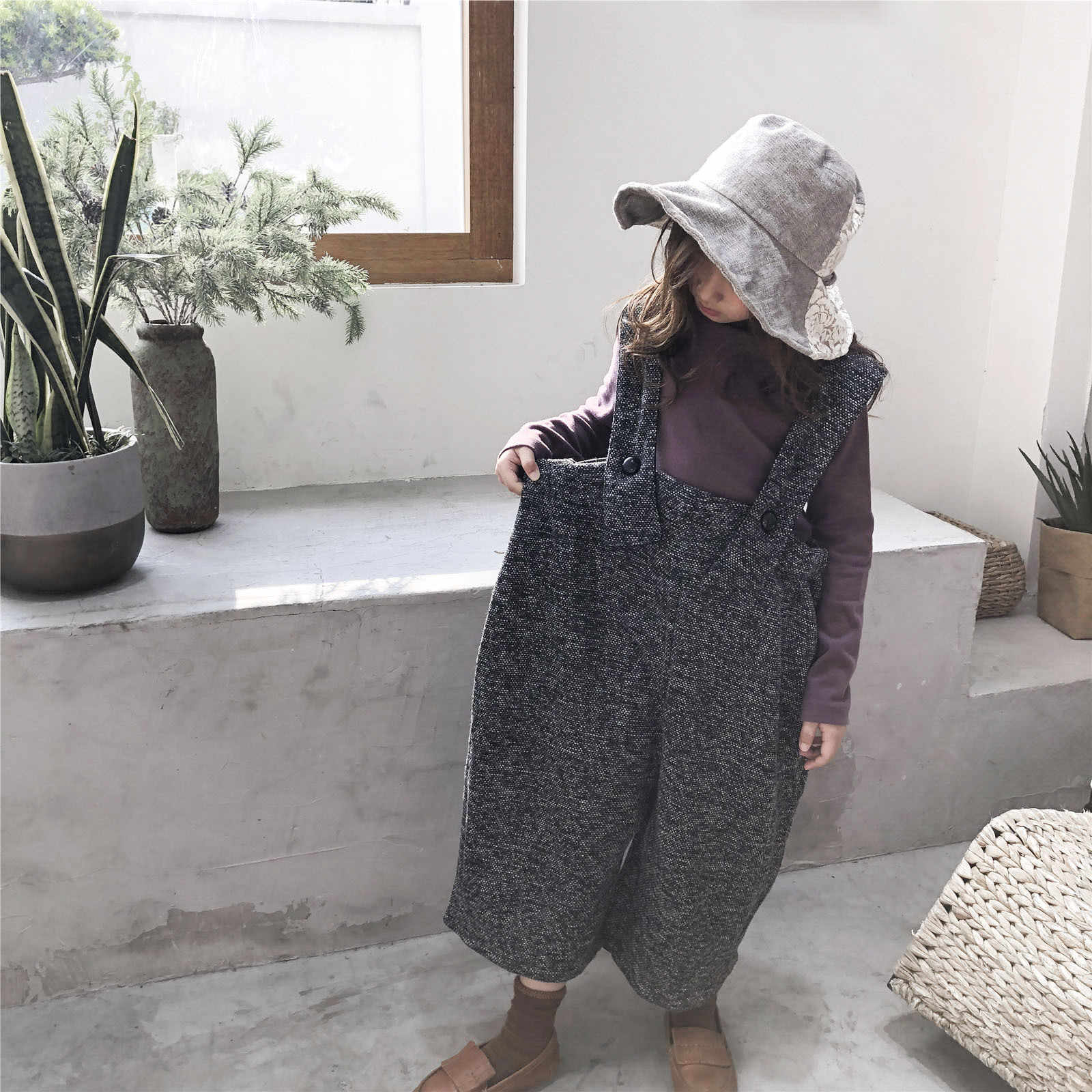 c6f29809acb ... 2019 new spring thick warm girls gray jumpsuit rompers for 3 - 12 yrs  little girls