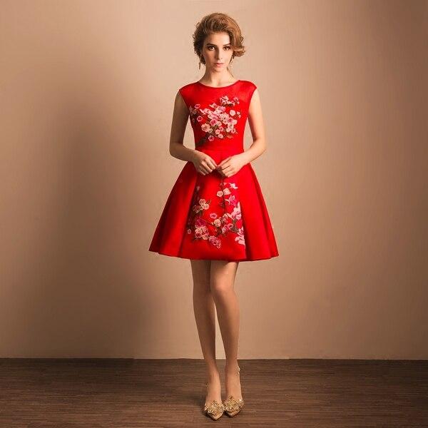 Vestidos de fiesta cortos ocasiones especiales vestido Rojo Perspectiva  Backless Princesa Corto Vestido de fiesta 2017