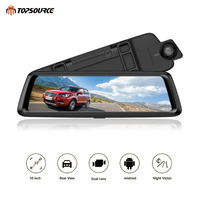 TOPSOURCE Car DVR 3G 4G 10 HD 1080P Dvr Car Dual Lens Dash Camera Auto Rearview Mirror Video Recorder WIth GPS 1G 16G