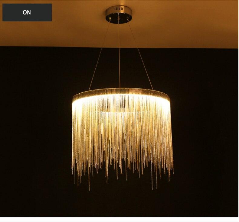 de engenharia luxo corrente borla alumínio led bela iluminação lustre