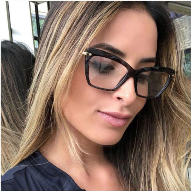 afb3b749ed New Cat Eye Women Optical Glasses Frames Alloy Plain Glasses Corner Angle  Transparent Frame Ladies Female With Clear Lens