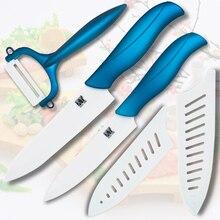 Alta calidad cuchillo de cerámica 5 pulgadas cuchillo rebanador 6 pulgadas cuchillo cocinero herramientas de cocina con un blanco + azul pelador de cuchillos de cocina set