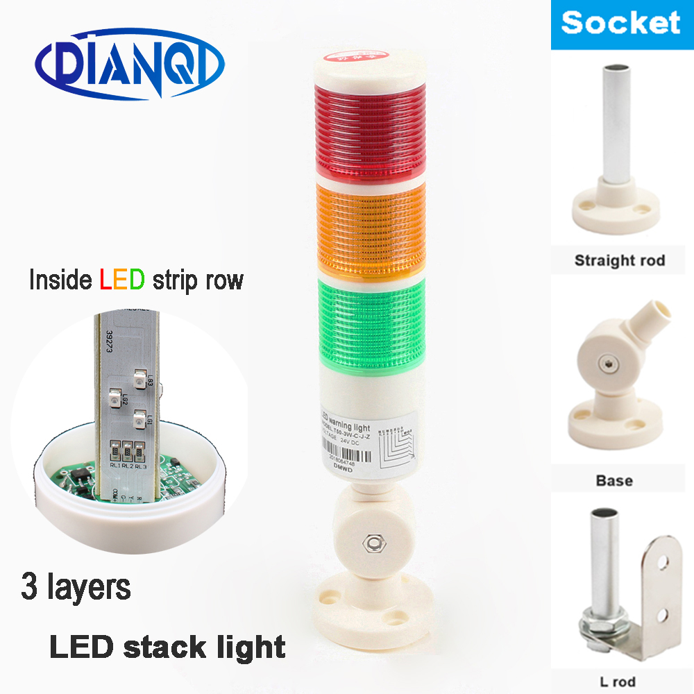 Industrial Signal Tower Safety Stack Alarm Light lamp LED Red Green Yellow Lamp LED plastic 3 layers with base 12V 24V(China)