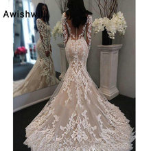 Awishwill Long Sleeves Mermaid Wedding Dress Court Train