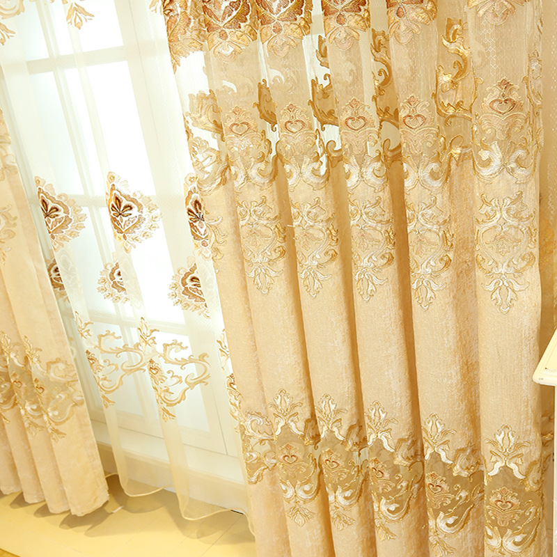 New Luxury Europe Embroidered Tulle Window Curtains For Living Room Bedroom  Golden Yellow Curtains Window Treatment Drapes  In Curtains From Home U0026  Garden ...
