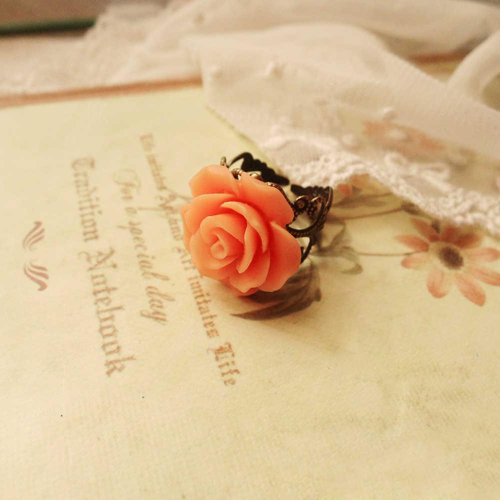 Anillo de flor Rosa negro/azul/amarillo/rosa de moda anillo de resina rosa de regalo para mujer joyería Heathy antialergias 4 colores