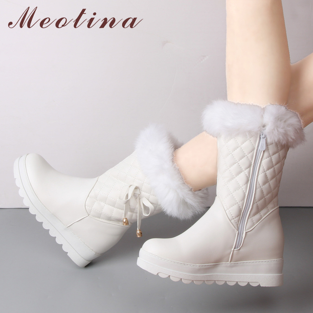 Meotina Winter Snow Boots Plush Shoes Women Platform Wedge Boots Real Rabbit Fur Mid Calf Boots Bow High Heels Female Footwear