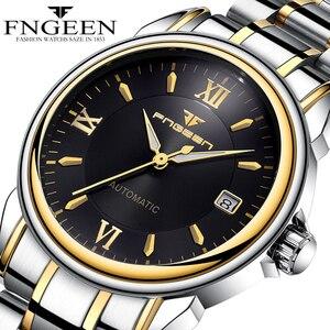 Image 1 - Montres mécaniques pour hommes marque de mode luxe Date calendrier montre bracelet homme automatique en acier montres squelette Relogio Masculino