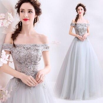 light grey evening dress new design pink light grey party gown appliques pearl prom dress lace up formal dress vestido de noiva