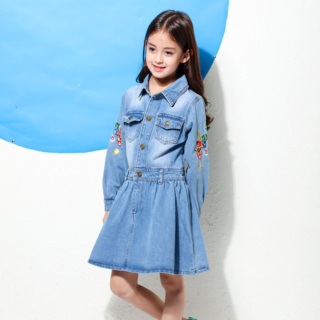2018 Princess Girls Jeans Dress Overalls Clothing for Baby Little Girl  Christmas Clothes for Age 8 9 10 11 12 13 14 Years Old a1041f085ce1