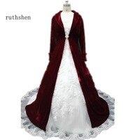 Рождество бордовый красный бархат свадебные плащи с одежда с длинным рукавом развертки поезд v образным вырезом Зимние Свадебные Накидки/п