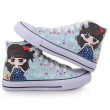 New Korean student white Hi-breathable casual shoes cute small Greek hand-painted shoes canvas shoes women