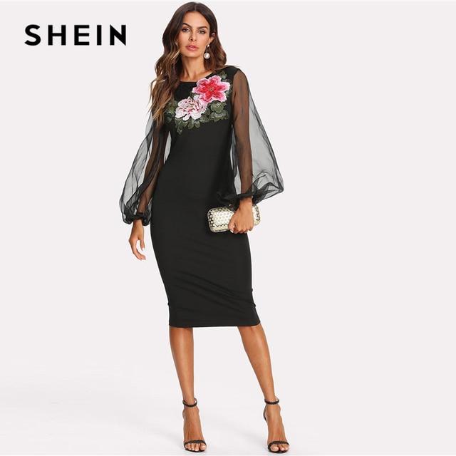 ab51d4c0389fa SHEIN Flower Embroidery Sheer Lantern Sleeve Dress Black Round Neck High  Waist Long Sleeve Women Elegant