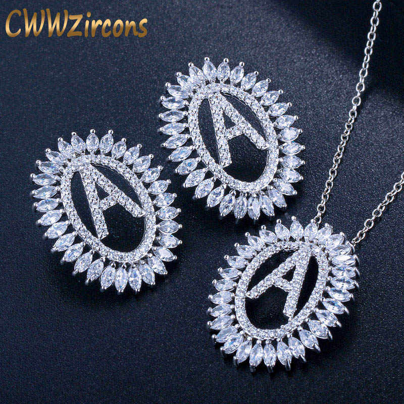 CWWZircons Luxury Cubic Zirconia Pave Letter Name Pendant Necklace And Earrings Fashion Famous Brand Jewelry Set For Women T303