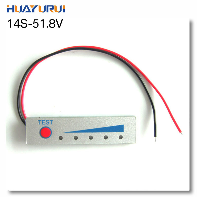 Free shipping 2pcs 14 series 14S 51.8V  lithium battery power display panel board LED battery indicator board