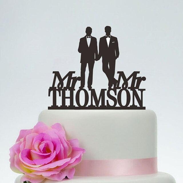 Gay Wedding Cake Topper,Mr And Mr Same Sex Wedding Cake Topper, Acrylic  Silver