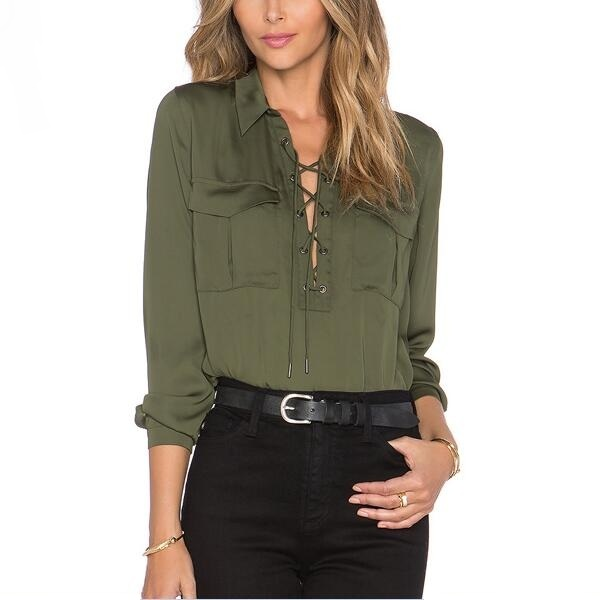 Army Green Blouse Women Long Sleeve Shirts Asymmetric Bottom 2017 ...