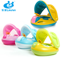 Baby swim ring car boat with a trumpet baby child sun-shading boat swimming toys floating ring wooden seat free air pump
