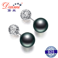 DAIMI Tahitian Pearl Earrings 10.5 11mm Round Pearl Earrings 925 Silver Studs Earrings Fashion New