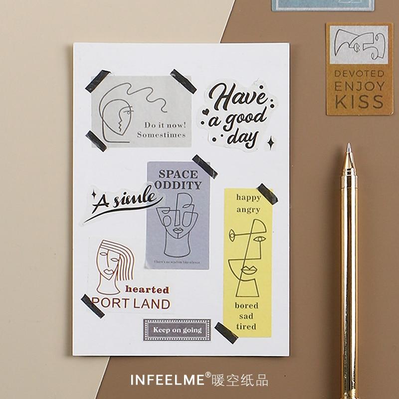 20pcs\Hang A Picture DIY Retro Style Sticker Art Mini Girl Scrapbook Album Diary Magazine Sticker Student Stationery