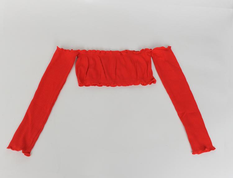 HTB1aEpKPFXXXXaMXpXXq6xXFXXXd - Women Slash Neck Ruffles Crop Tops with Long Sleeve Sexy Tube Tops PTC 143