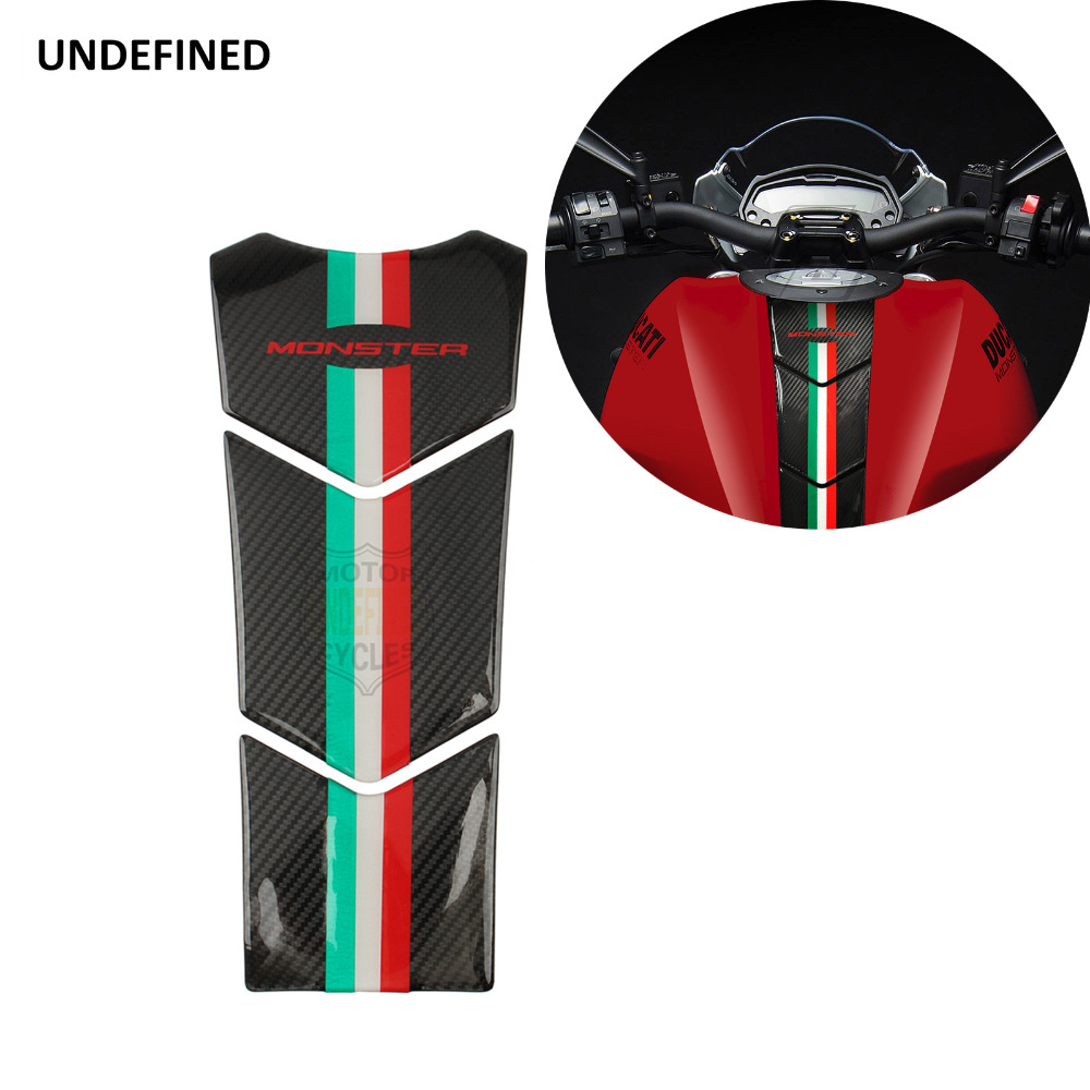 3D Motorcycle Carbon Fiber Look Oil Tank Pad Protector Decal Stickers Moto For Ducati Monster 600 620 750 821 900 1998-2019