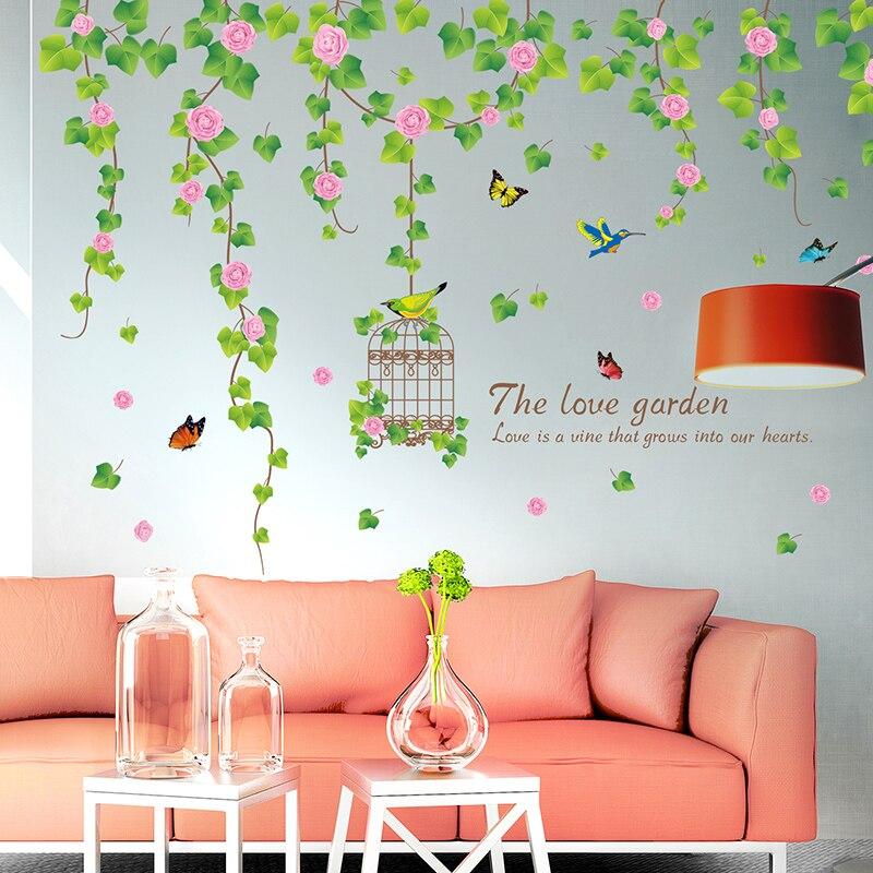 Us 637 42 Offshijuehezi Bunga Wisteria Kandang Burung Stiker Dinding Untuk Ruang Tamu Kamar Tidur Dekorasi Diy Tanaman Merambat Dinding