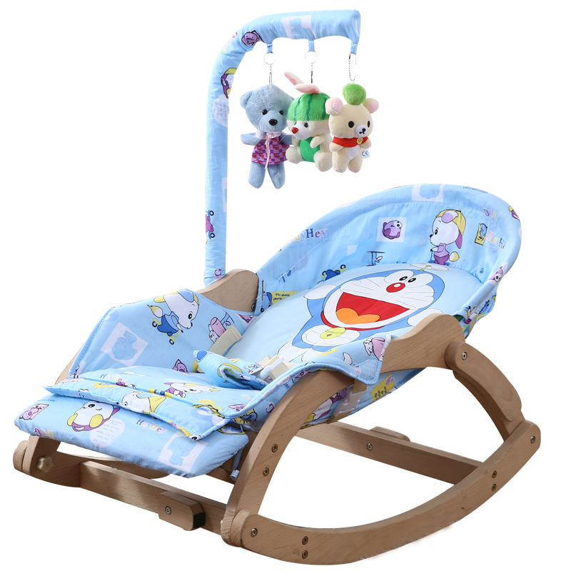 Beech Wood Baby Rocking Chair with Rotating Toy Rack Foldable 5 Grade Adjust Baby Cradle Portable Innrech Market.com