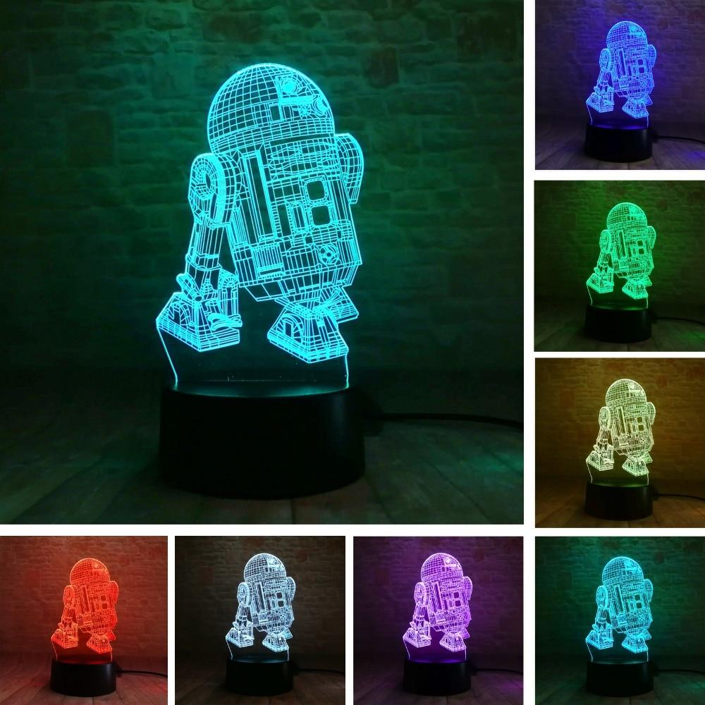 Star Wars Legends Ρομπότ R2D2-B 3D 7 Χρώμα βαθμίδων Φως νυχτερινών ανεμιστήρων Αγόρια RoomTable Αρχική διακόσμηση Παιδιά Παιδικά Παιδικά Χριστούγεννα Δώρα δώρων
