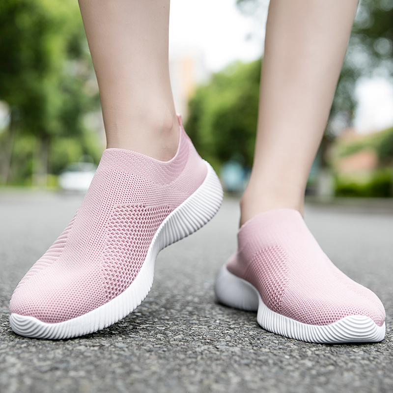 Slip On Flying Knit Women Fashion Sneakers Breathable Flat Heel Casual Shoes Round Toe Low Top Women Shoes XU034 in Women 39 s Vulcanize Shoes from Shoes