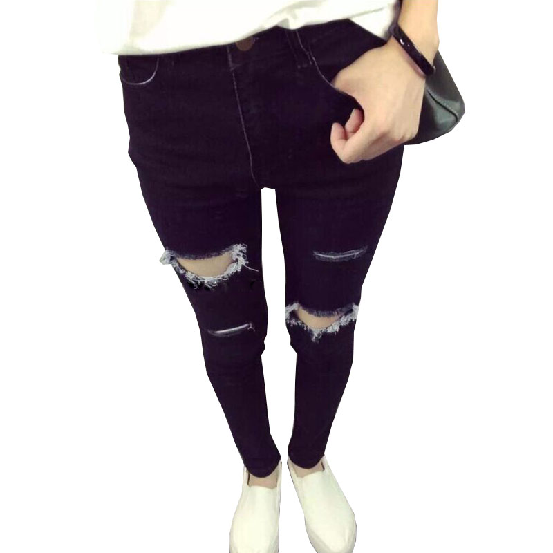 2017 Summer Female Jeans Europe and America New Jeans Fashion Slim thin Jeans Black Long section