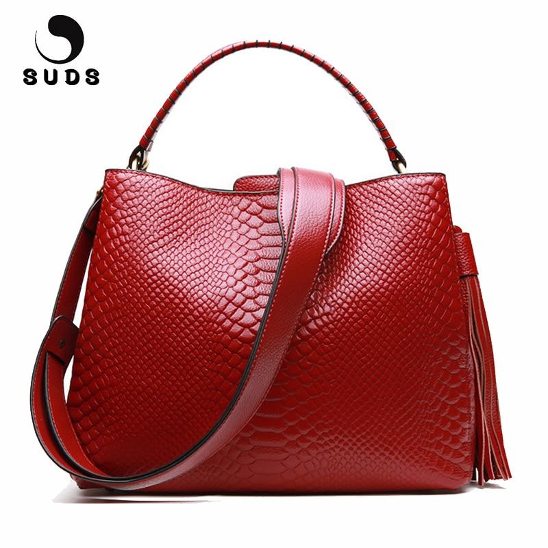 SUDS Brand Women Genuine Leather Handbags European And American Style Alligator Crossbody Bags Female Fashion Tassel