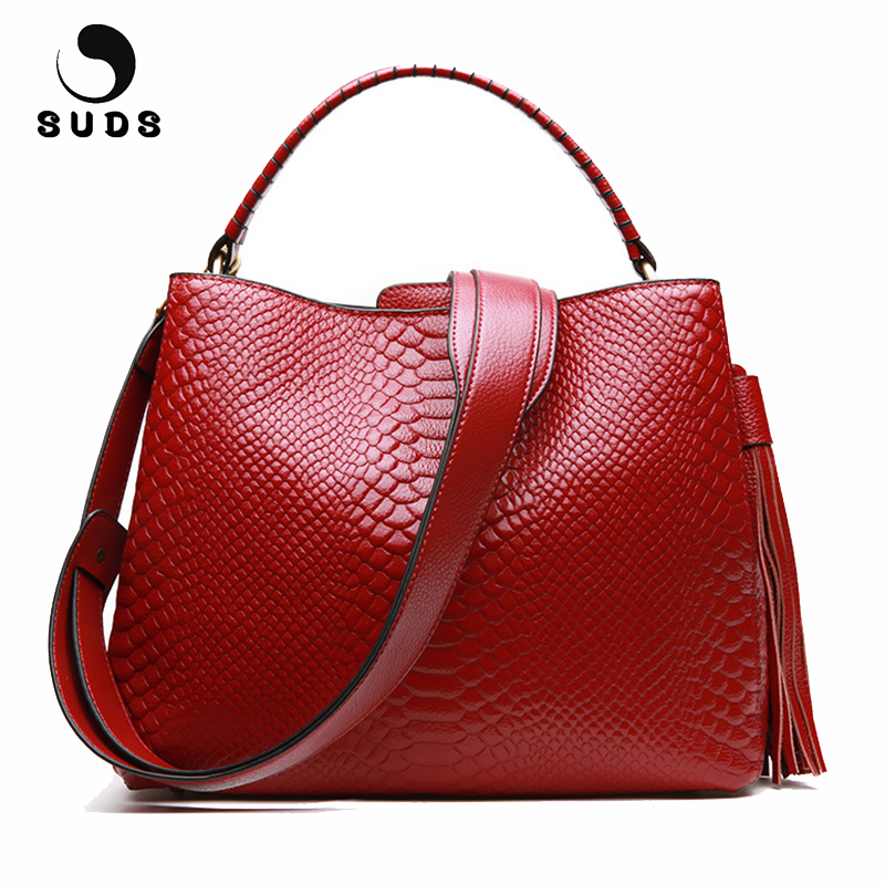 SUDS Brand Women Genuine Leather Handbags European And American Style Alligator Crossbody Bags Female Fashion Tassel Tote Bags jiasna new women handbags soft pu ladies crossbody bags baobao european and american style versatile bags design fashion