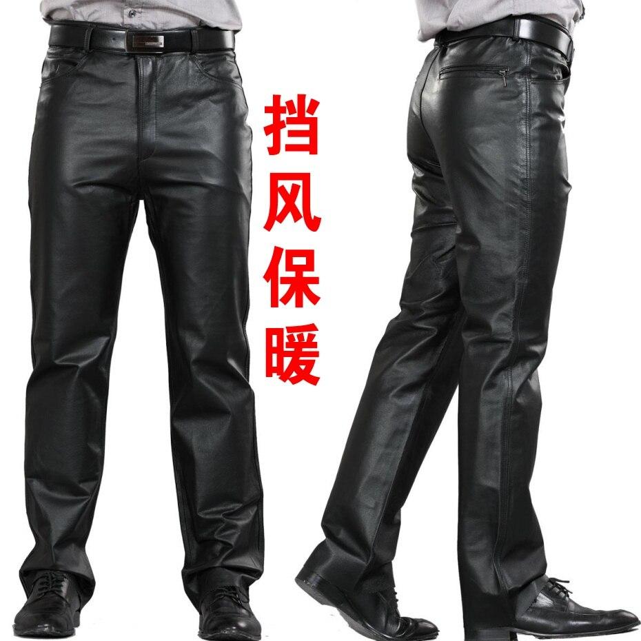 New Plus Size Genuine Leather Pants Men Brand Fashion Full Sheepskin Straight Pants Men Motorcycle Trousers