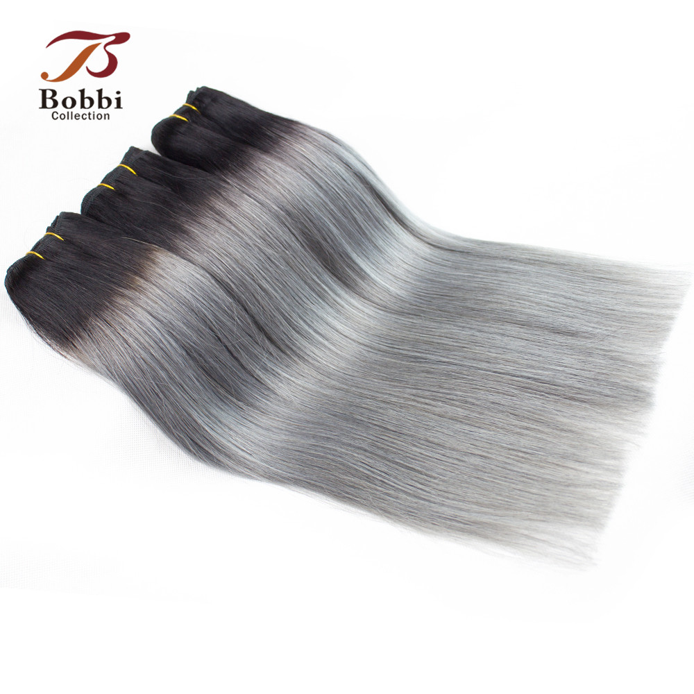 Bobbi Collection T 1B Dark Grey 2/3 Bundles Two Tone Ombre Brazilian Hair Weave Bundles Straight Remy Human Hair Extension-in Hair Weaves from Hair Extensions & Wigs    2