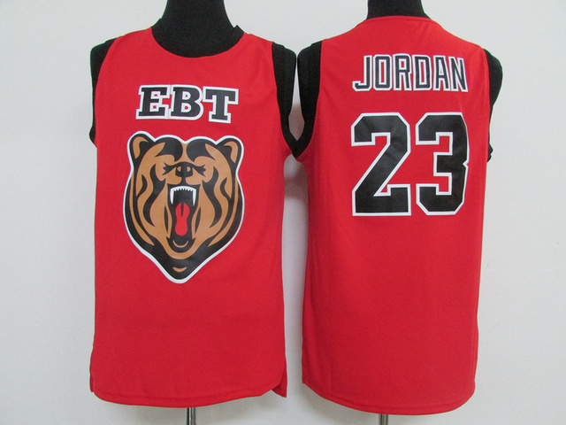 ea5e10a6481 Michael Jordan Laney High School Jersey Embroidery logo Ebt Tiger 23  Michael Jordan High School Red Basketball Jersey Size S-XXL