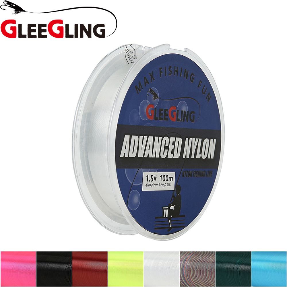 GLEEGLING 100M fil de peche nylon fluorocarbone 100M nylon peche 100m Fly Nylon Fishing Lines For Crap Fishing Accessories Pesca