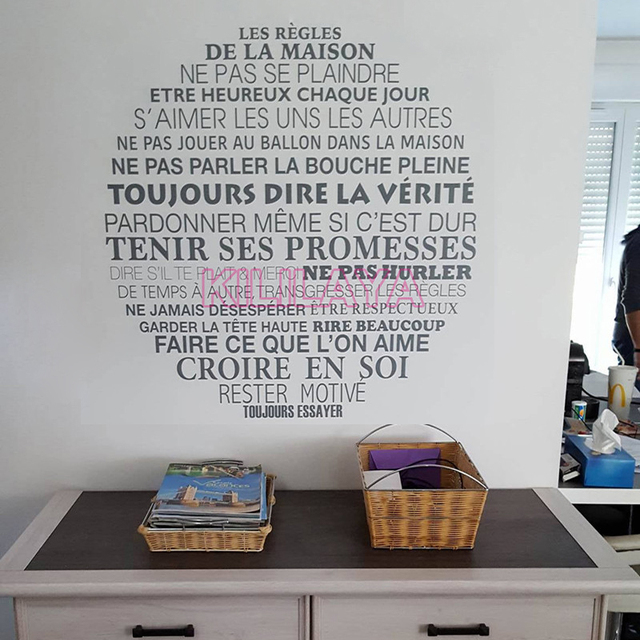 Stickers French Citation House Rules Vinyl Wall Sticker Decal Round