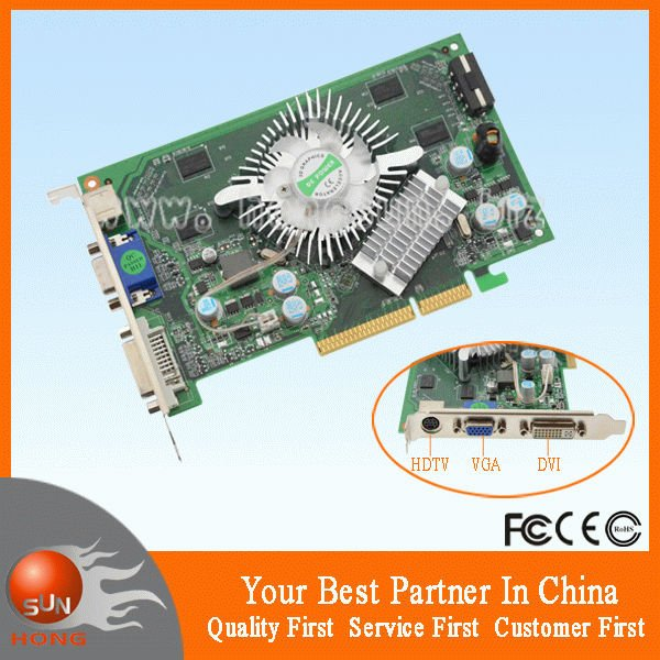 100 NEW NF P508 7600 GS 512MB AGP Graphic Video Card DDR2 800Mhz TVO VGA DVI Drop Freeshipping With Tracking Number